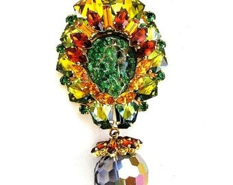 Amazing Austria Brooch with Dangling Mirror Bead