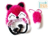 Furry Fox Hat with Detachable Tail as an Option MADE to ORDER Handmade Crochet Hat