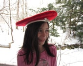 Vintage Hat Red Beret with White Stitching Mr. John Classic Wool Felt Hat