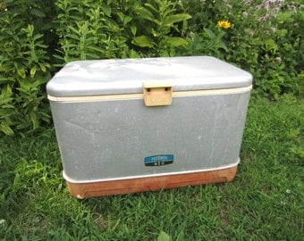 Vintage Metal Thermos Brand Cooler Ice Chest