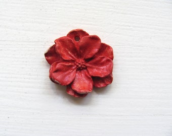 Ceramic Flower---Red--Decoration---Jewelry--Gift--Necklace
