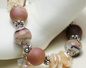 Lampwork Bracelet and Earrings - Sterling Silver - Druzy Agate  Peach Coin Pearls Beaded Jewelry 'Champagne and Pearls'