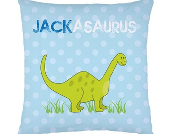 Personalised childrens name Dinosaur cushion / pillow