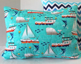"""Lumbar Quilted Pillow Cover 12"""" x 16"""" Nursery Rocking Chair Pillow Cover Baby Boy Nursery Sailboats and Chevrons"""