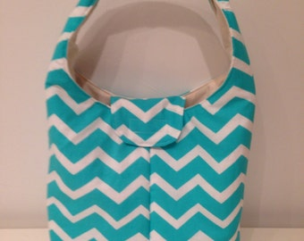 Lunch Bag Large Insulated Teal Chevron