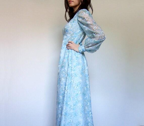 Vintage Baby Blue Dress Long Floral Maxi Dress Sheer Sleeve