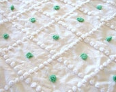 Free Shipping 30X24 Kelly Green & White Diamond POPS Vintage Chenille Bedspread Fabric Delicate Sweet Little Popcorn