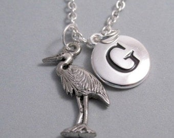 Heron Charm Necklace, Key Chain with Heron, Silver Plated Charm, Initial, Personalized, Monogram Charm