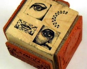 Soul Windows - Eyes - Hearts - Lips - New WM Cube 4-in-1 Rubber Stamp - Collage - Cards - ATC - Domino Art - Scrapbooks - FREE Shipping