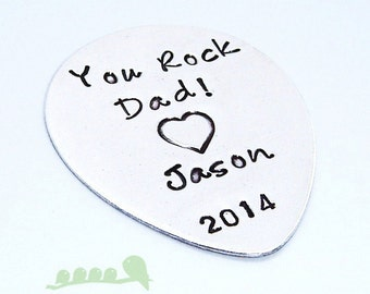 Personalized Guitar Pick - You Rock Dad - Men Handstamped Sterling Silver Guitar Pick - Music Gift