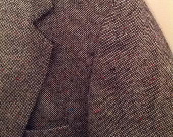 Haggar mens jacket blazer suit coat 42 80s wool speckled pattern elbow patches boho