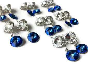Sapphire blue bridesmaid earrings sparkly swarovski elements weddings bridal mother of the bride prom