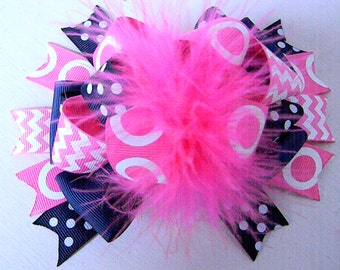 Over the top Hair bows Hot Pink and Navy Blue