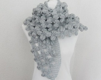 Scarf, Wrap, Shawl, Very Cozy Bean Shawl in  Silver, Gray, Crochet Shawl,