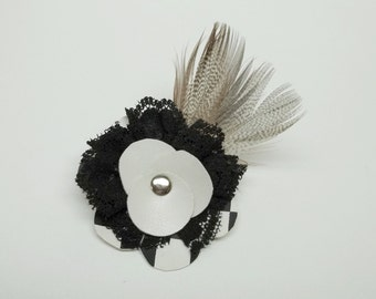 Black and white leatherette brooch,lace,feathers,black/white leatherette,brooch,leatherette brooch,shabi chic,goth,costume party