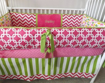 HOT Pink, lime Wales and Chevron Baby bedding Crib set DEPOSIT