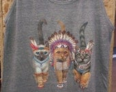 Three Native Kitty Cats Mens Tank Top Made in USA Athletic Blue or Gray