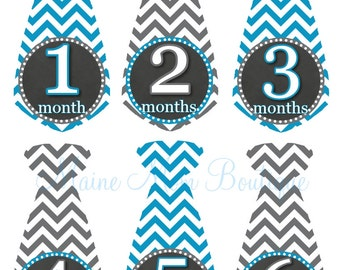 Baby Boy Monthly Tie Stickers Month Milestone Stickers Baby Boy  Chevron Blue Grey Newborn Baby Shower Gift Photo