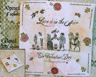 Printable Valentine's Day Card - Digital Download - 3D Victorian Origami Puzzle Purse With Love Poem With Matching Tags CS44V
