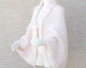 Handmade Hand Knit Cape Jacket Sweater Cacoon Cape  in Chantilly Pink Mohair Blend Plus Sizes Available