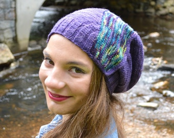 BREAK THROUGH, Knitting PATTERN, Women's Slouchy Beehive  Knit Hat Pattern,Women's Slouchy Beehive Hat Pattern,Women's Knit Hat Pattern