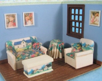 "Upholstered Living Room Furniture Set Kit (26b) in 1/4"" (1:48th) Scale or toy for one inch scale"