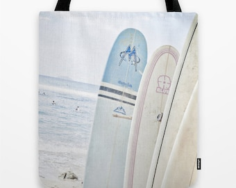 Sale***Blue and Pink Surfboards on the Beach 18 x 18 Tote Bag Last One