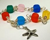 Sale sea glass bracelet colorful handmade lampwork sea glass style cube bracelet beach glass style silver charm bracelet by paulbead