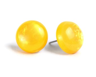 Bright pearly yellow colored buttons surgical steel stud earrings READY to ship (462) - Flat rate shipping