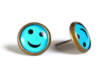 Blue smile smiley hypoallergenic stud earrings (502) - Flat rate shipping