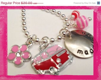 SUMMER LOVING - BUS and Flowers Hand Stamped  Personalized Charm Necklace for kids #G621
