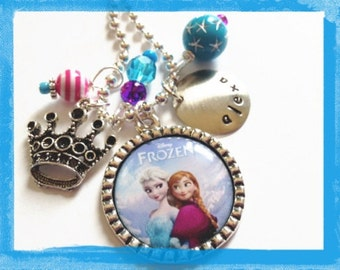 PRINCESS BEZEL NECKLACE - Personalized Hand Stamped Frozen Necklace -Elsa and Anna