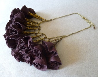 Chocolate Brown and Antique Bronze Fabric Rosette Statement Necklace