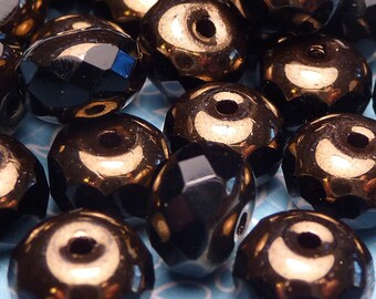 Jet Black with Bronze Faceted Rondelles 6x8mm - 10pc