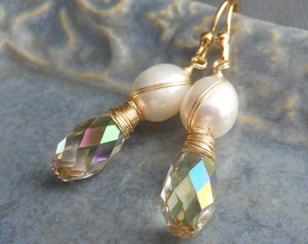 Sparkling Light Green and Pearl Earrings, Wire Wrapped White Pearls Swarovski Crystal Dangle Gold Plated.