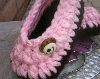 Baby Booties, Slippers.....in Pink with Brown Sole