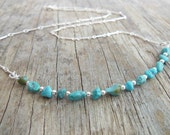 Natural Turquoise Bar Necklace, Sterling Silver Chain, Stone Nugget and Silver Beads, Western Jewelry