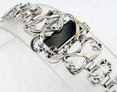 Hand Crafted Silver Gold Onyx  Bracelet (s b1933)
