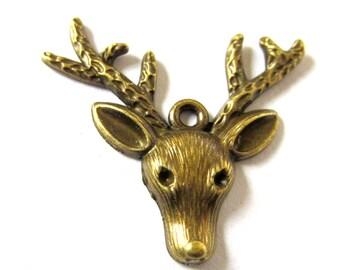 10 Deer head charms antique Bronze charm bracelet dangle 36mm x 30mm