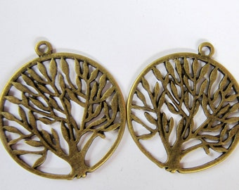 6 Antique bronze tree pendants antique metal 38mm tree of life A11591,
