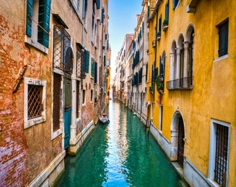 Venice Photography Canal Photograph Italy Photo Yellow Pink Red Balcony Italian Colors  ven42