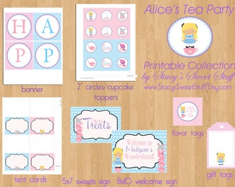 Alice in Wonderland Party Package, DIY, Printable, CHOOSE 4