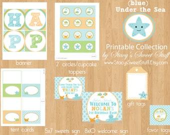 Under the Sea Birthday Printable Set, DIY, Printable, CHOOSE 4