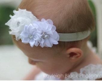 Christening Headband,white baby headband,newborn headband, baby girl headband,baptism headband, infant headband, Baby hair bows