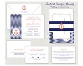 Coral & Navy Blue Nautical Chevron Anchor Wedding Invitation Suite