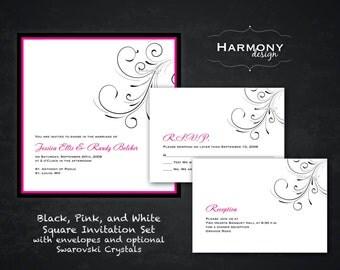 Square Hot Pink Fuchsia and White Panel Card Wedding Invitation with Flourish Design and Swarovski Crystals - Design Fee