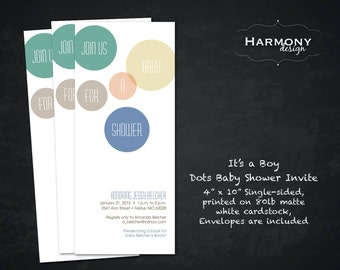 Join Us for a Baby Shower Invitation for Boy or Girl, Single-Sided on White 80lb Cardstock with envelopes - Set of 12