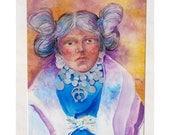 original Painting, Native American, watercolor Portrait, Hopi Maiden, Southwestern art, southwest decor, native american decor, earth tones