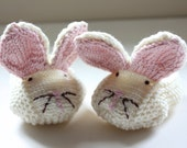 Baby Bunny Slippers - Knitted Bunny Booties - Ivory with pink inner ears - Made to Order - Choose Size