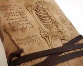 leather journal hand painted vintage style old paper pages, personalized custom quote - art leather book, notebook, diary - Da Vinci